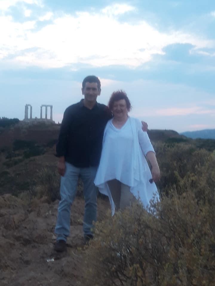 Με τον Χουάν Μαγιόργκα στο Σούνιο (11/6/2019), στη διάρκεια της επίσκεψής του στην Αθήνα με αφορμή την πρεμιέρα του έργου του Himmelweg, ο δρόμος για τον ουρανό στο Φεστιβάλ Αθηνών.
