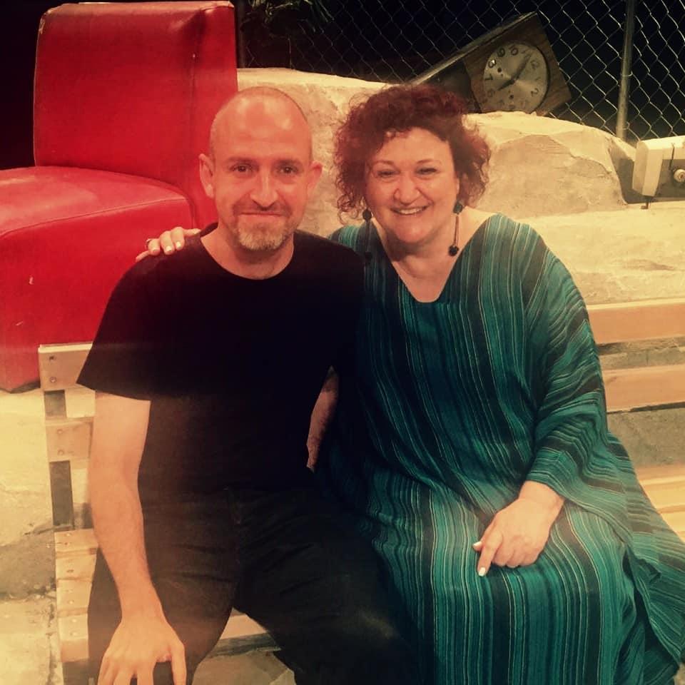Με τον Εστέβα Σολέρ στο Φεστιβάλ Αθηνών (2/7/2019) στην πρεμιέρα του έργου του Κόντρα στην ελευθερία σε σκηνοθεσία Βασίλη Μαυρογεωργίου